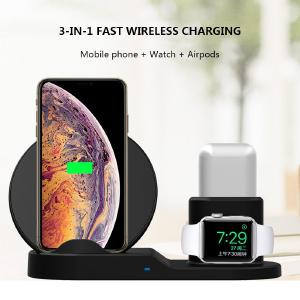 3 In 1 Wireless Charger For IPhone Apple Watch Airpods Fast Charging For Apple Watch 10W Wireless Phone Charger For Iphone X