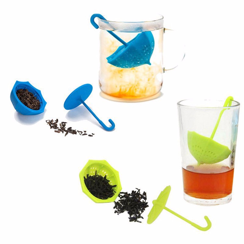Cute Umbrella Shape Plastic Tea Filter Tea Infuser Spoon Reusable Tea Strainer Tea Bag Coffee Teacup Teapot Accessories