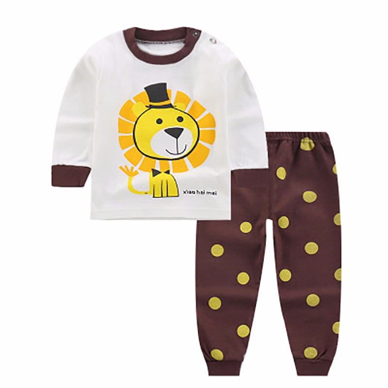 Newborn Winter Clothes Cute Lion Printed Girl T-shirt Set Casual Children Clothes Boys Winter Clothes For Kids Girls Clo