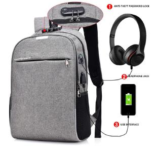 New USB Charging Backpack Password Lock Anti-theft Backpack Men Business Travel Bag With Earphone Hole Student Boys Bag