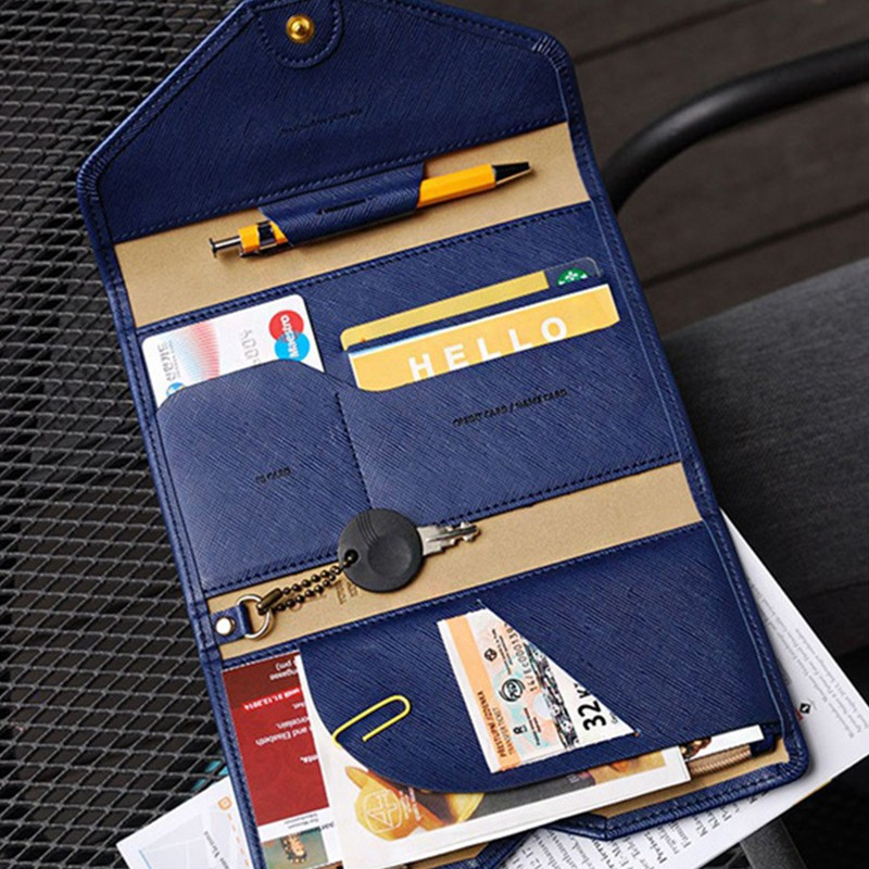 PU Passport Cover Travel Multifunction 3 Fold Wallet Leather Card Holder Long Wallet Men And Women Documents Pouch Purse