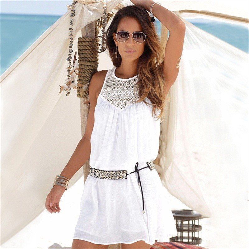 Sleeveless | Shoulder | Chiffon | Vintage | Summer | Casual | Beach | Women | White | Black | Dress | Mini | Lace | Off