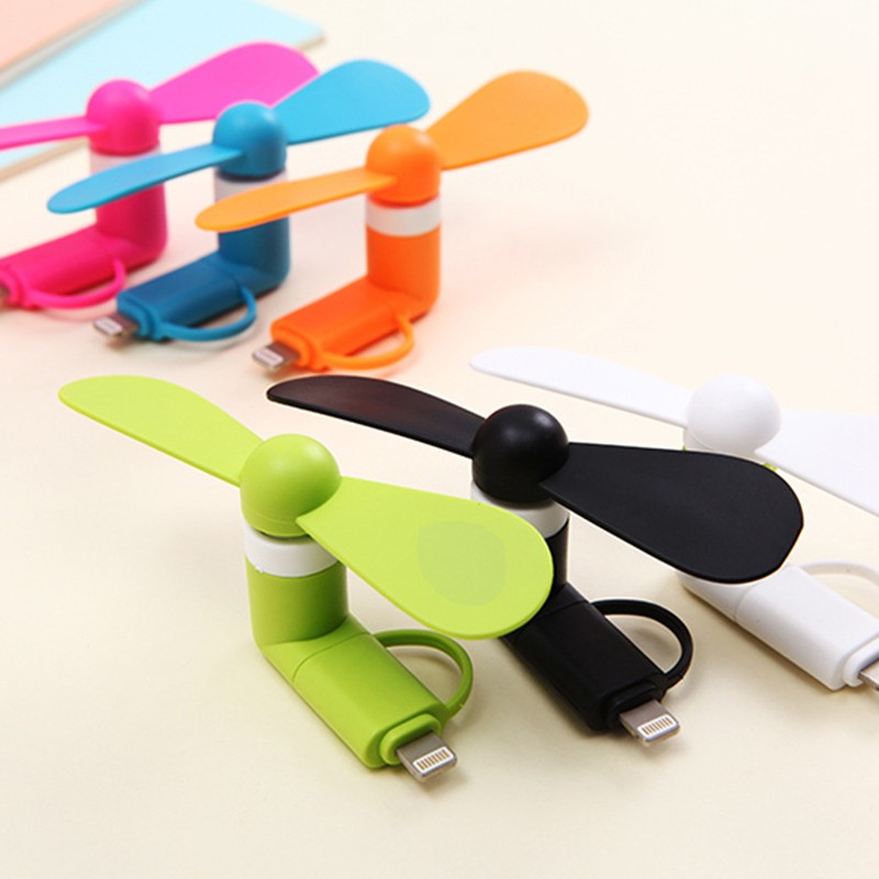 2-in-1 Travel Portable Mini Fan Cooling Cooler USB Mini Fan C For IPhone 5 6 6S 7 Plus 8 X For Android Type-c Mobile Fan