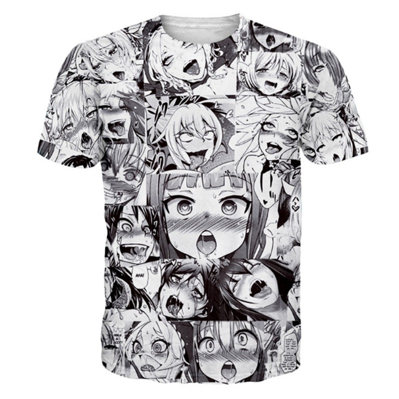 Europe And America Explosion Models Comic Girl Shy Climax Expression 3D Printing Short-Sleeved Men Harajuku T Shirt