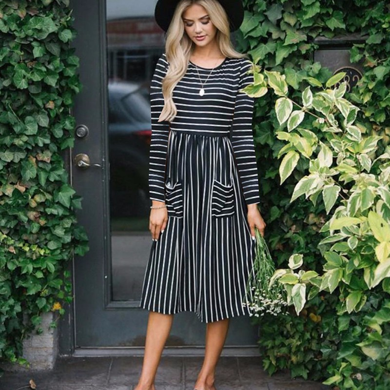 Fashion Printed Pocket Women Party Dress 2018 Long Sleeve Autumn Winter Dresses Harajuku Casual Stripe Dress Vestidos