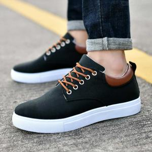 Mens Casual Canvas Sneakers Lace Up Fashion Flat Walking Shoes