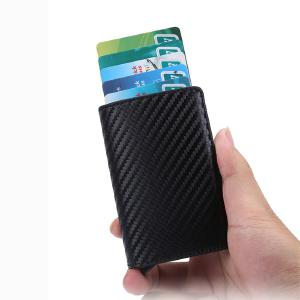 PU Leather Wallet Multicolor RFID Credit Card Box Mini Slim Coin Purse Anti-theft Automatic Pop Up Credit Card Wallet
