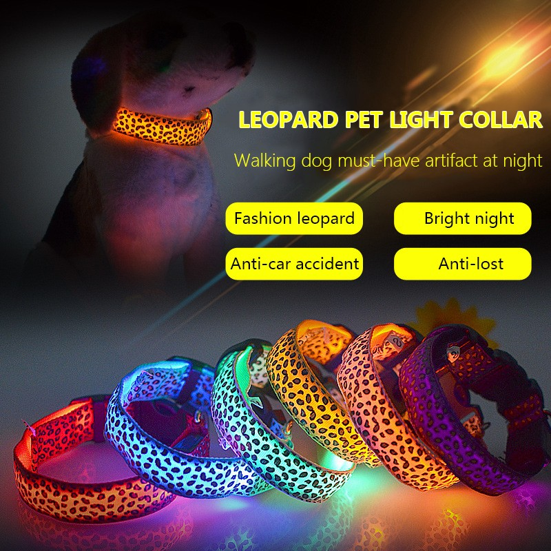Led Flashing Cat Dog Pet Collar Solid Color Leopard Nylon Band Night Light Up Lead Puppy Necklace Adjustable