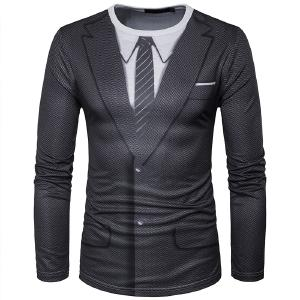 Men Autumn Fake Two 3D Suit Three Dimensional Printing Primer Shirt Men Round Neck Long Sleeved T Shirt Riverdale