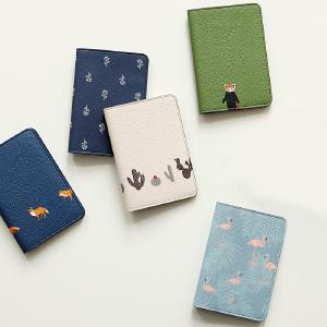 Cute Short Wallet Fresh Animal And Plant Travel Passport Cover Leather Women Card Holder Document Pouch  Clutch Purses