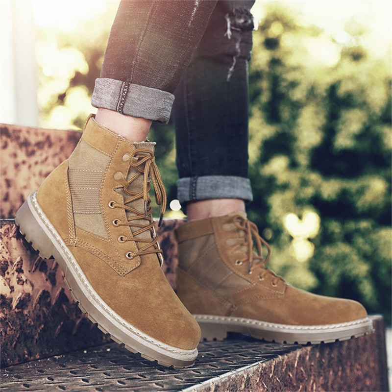 Martin Boots Autumnwinter  New Mens Lace-Up Boots Suede Leather Unisex Style Retro High Top Casual Shoes Large Size
