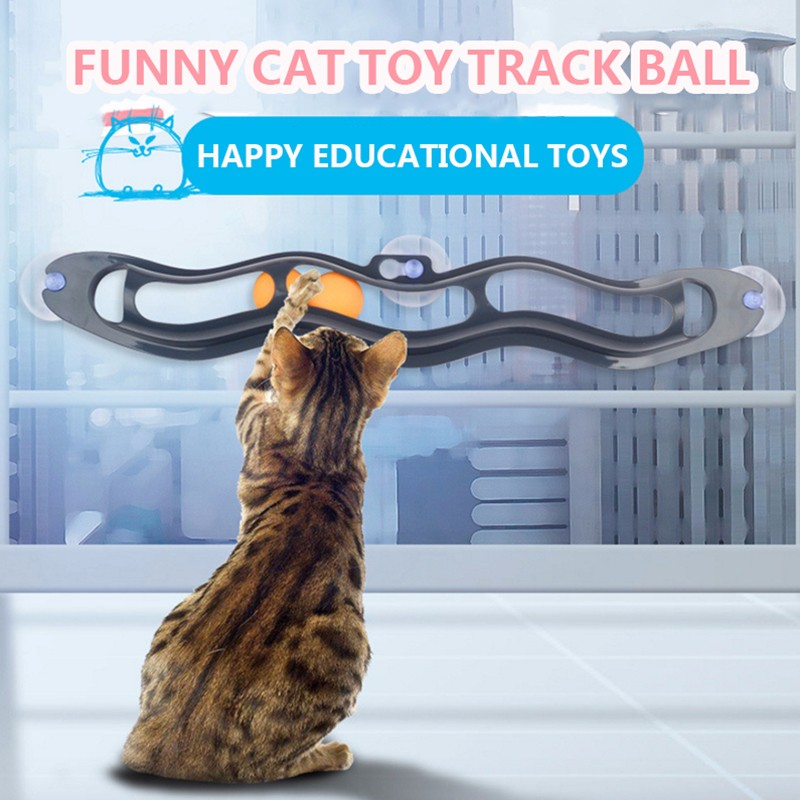 Pet Cat Ball Toys Interactive Funny Tracking Ball Toys Cat Practical Intelligent Window Suction Cup Track Balls New Pet