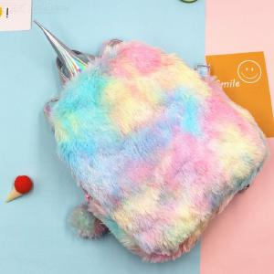 Unicorn Girl Cute Bags For Women Winter Faux Fur Small Cartoon Girls Travel Schoolbag Plush Backpack