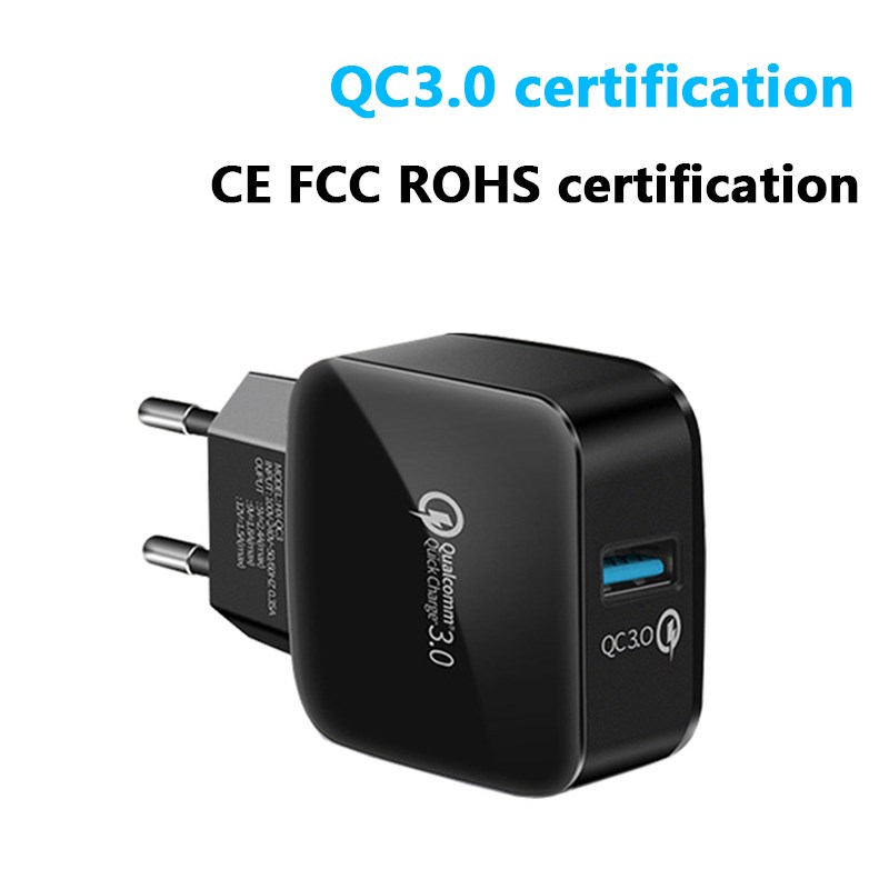 Qc 3.0 Fast Charge Charging Head Square European Standard Bread Charger Single Port Usb Mobile Phone Charging Head Fast Charge