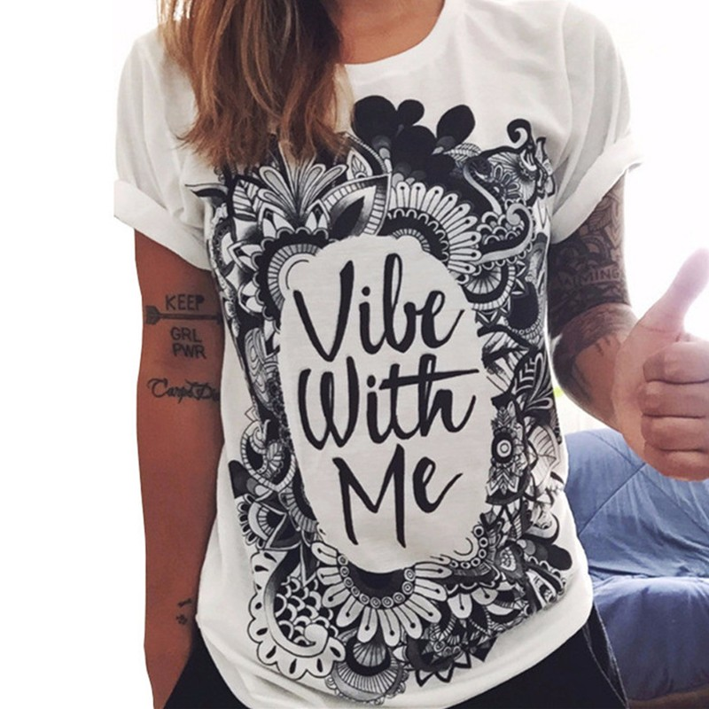 2018 Women Summer O Neck Short Sleeve T-Shirt Tops Print Punk Rock Fashion Graphic Tcotton White Tees T Shirts