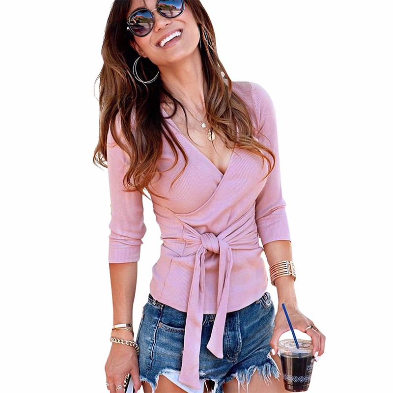 Gumprun 2018 New Winter Sexy V-Neck Blouse Cross Strap Long Sleeve Womens Tops And Blouses Slim Fit Splice Blouse Women