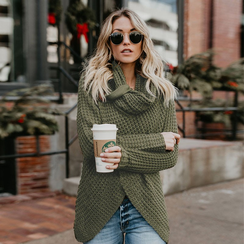 Fashion Autumn Winter Warm Sweater Casual Female Knitting Sweaters Irregular Tops Pullover Turtleneck Knitted Sweaters