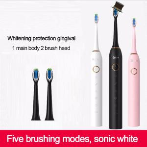 USB Rechargeable Sonic Electric Toothbrush With 2Pcs Replaceable Brush Heads, Waterproof Automatic Teeth Tooth Brush