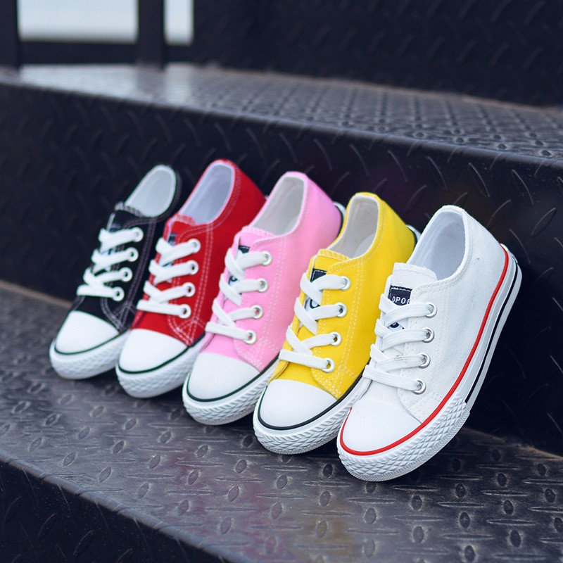 Fashion Girl Sports White Shoes Canvas Solid Color Kids Casual Shoes Non-slip Wear-resistant Girls Flat Shoes Parent-chi