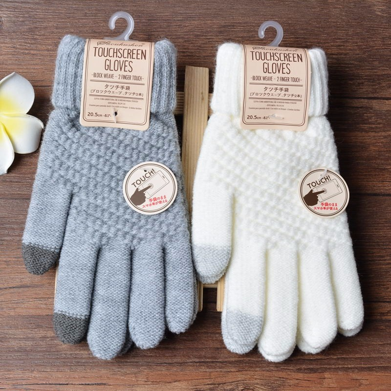 Touch Screen Gloves Women Men Knitting Warm Winter Stretch Knit Mittens Wool Full Finger Guantes Female Crochet Mitt Luv
