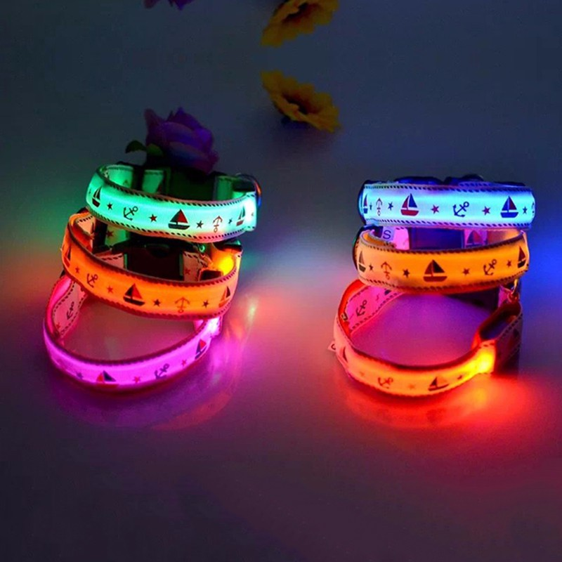 New LED Light Pet Dog Camouflage Collar Collar Teddy Golden Retriever Dog Luminous Collar Fluorescent Collar