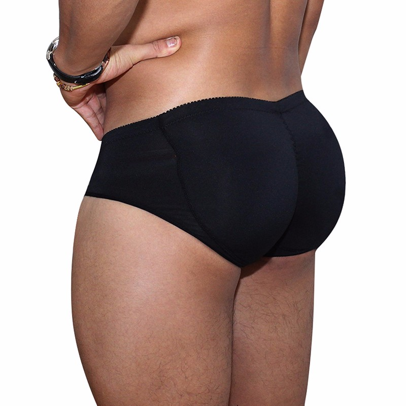Mens Padded Underwear Lifting Butt Mens Underwear Panties Strengthening Sexy Highlights Front + Back Hips Removable Pu