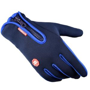 Waterproof Warm Touch Screen Gloves Windproof Riding Motorcycle Zipper Full Finger Heated Gloves