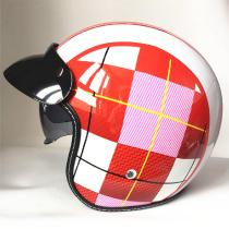 Four-Seasons-Motorcycle-Helmet-Male-Electric-Car-Half-covered-Harley-Sun-Protection-Helmet-Female-Red-White-Pattern