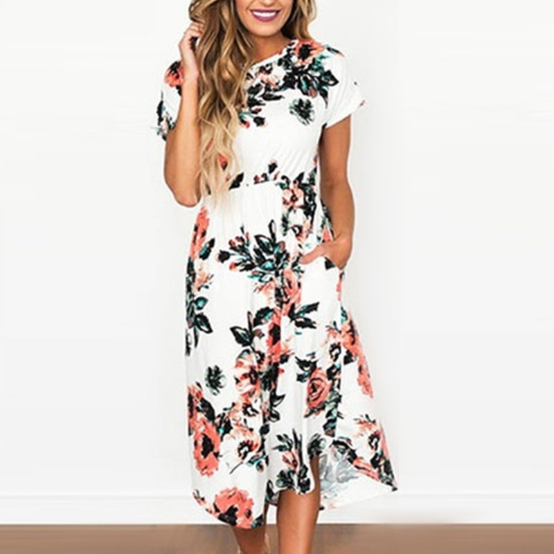 2018 Elegant Women Robe Summer Long Dress Sexy O-Neck Short Sleeve Pocket Print Maxi Dresses Casual Vintage Vestidos