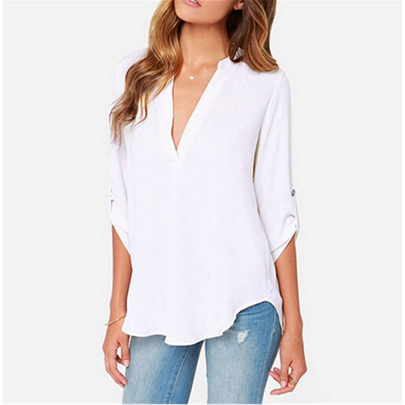 2018 Plus Size Women Sexy Shirts Blouses Long Sleeve V Neck Solid Ladies Chiffon Blouse Tops OL Office Style Femme Shirt