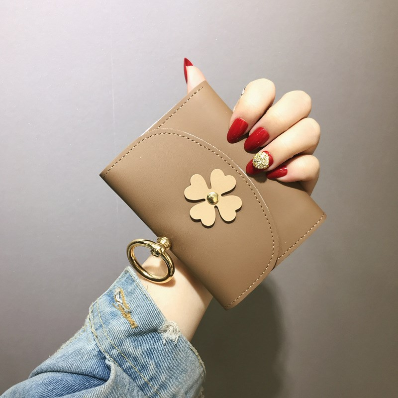 Short Wallet Female 2019 New Fashion Folding Women Wallet FFower Metal Ring Clutch Small Wallet PU Leather Coin Purse