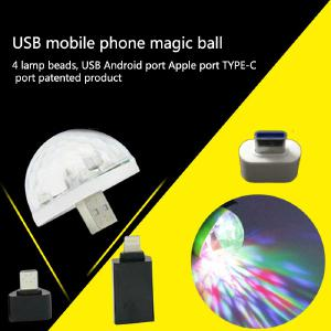 Mini Stage Light Voice Control Small Magic Ball Light RGB Mobile Phone Usb Android Apple Rotating Stage Light LED