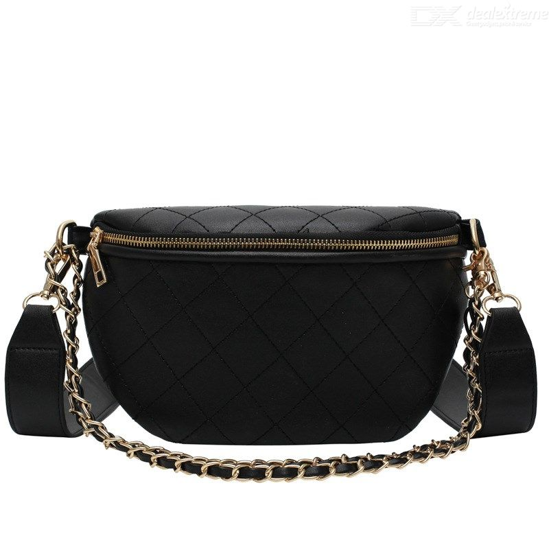 Casual Leather Fanny Pack Luxury Brand Women Waist Bag New Rhombic Chain Messenger Bag New Fashion Band Belt Mobile Phone Bags