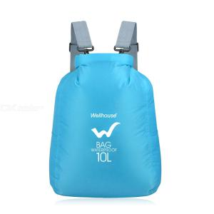 Outdoor Waterproof Dry Bag Roll-Top Storage Bags Nylon Backpack With Adjustable Shoulder Straps For Camping Kayaking (10L)