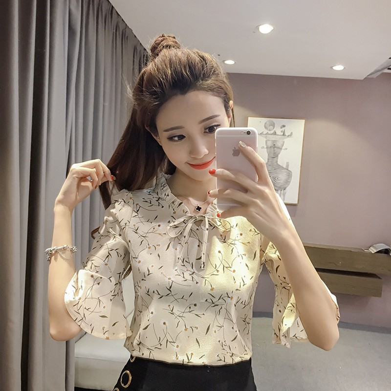 Bow Shirt Tops Short Sleeve Floral Female Summer Korean Fashion Casual Womens Top And Blouses Chiffon Plus Size Blouse