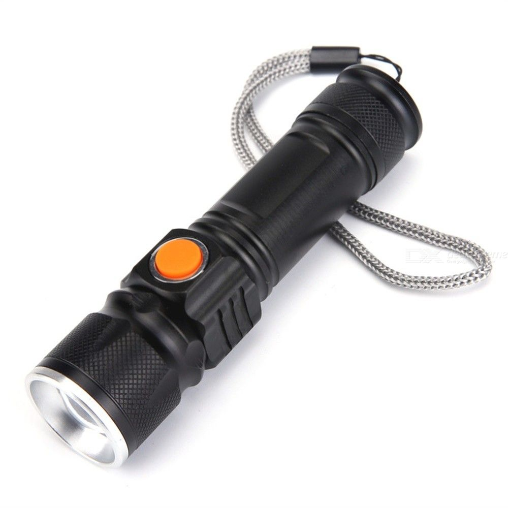 Dx coupon: Outdoor Mini Zooming T6 LED Flashlight 3 Modes USB Rechargeable Waterproof Torch - Black