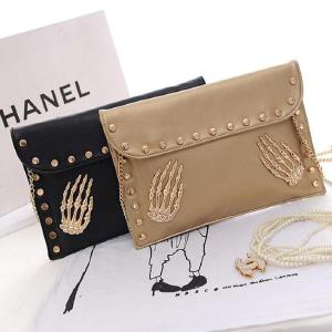 Famous Designer Womens Bag PU Evening Bag Personality Skeleton Clutch Bag Casual Rivet Flap Chain Envelope Shoulder Bag
