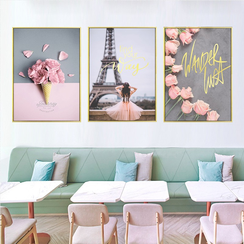 Nordic Ins Pink Girl Rose Gold Letters Decorative Painting Bedroom Bedside  Living Room Wall Paintings
