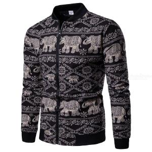 Mens Ethnic Style Animal Print Jacket Hip Hop Mens Spring Mens Fashion Thin Coat Hip Hop Streetwear Our Size S-XXL