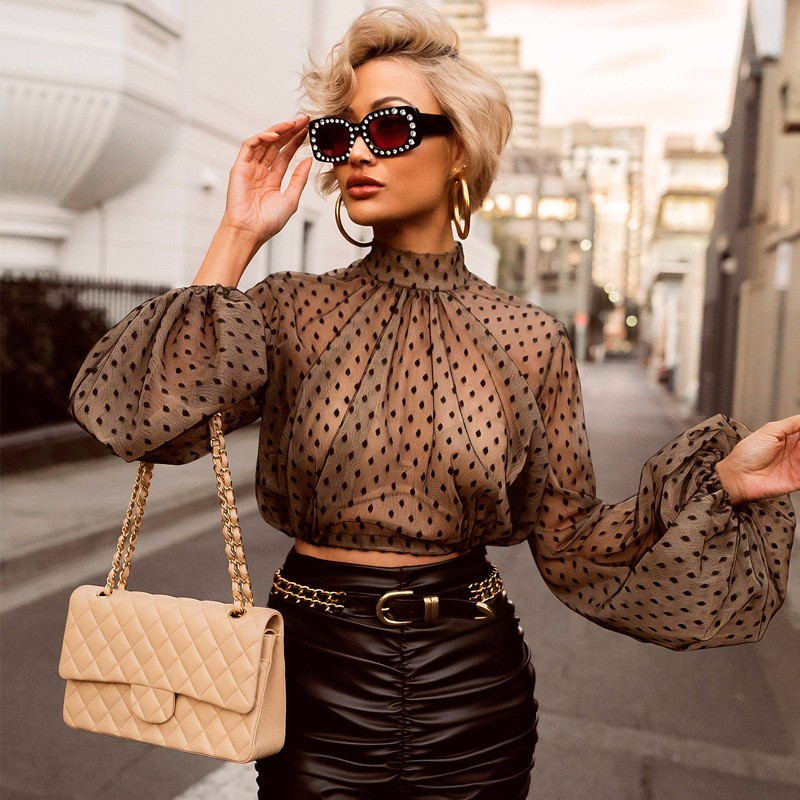 Sexy Perspective Mesh Blouses Women Clothes Fashion Polka Dot Blouse Shirt Long Sleeve Crop Top Gothic Shirts Blusas