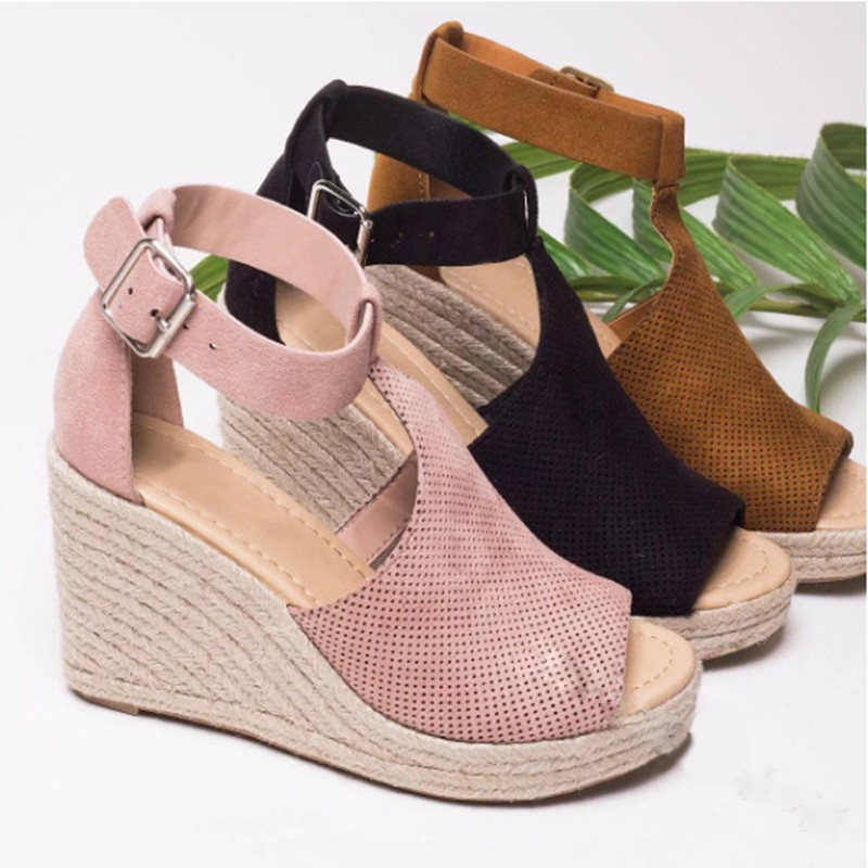 New Summer Comfortable Fashion Wedges Shoes For Women Heel High Straw Sole 34-43 Large Size Ladies Hemp Loop Shoes