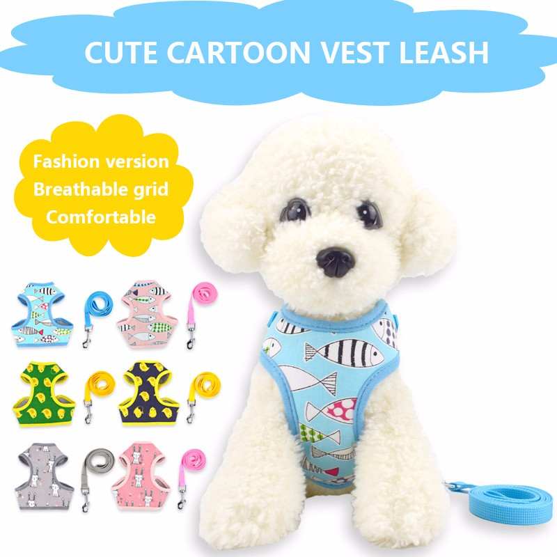 Dog Harness Leash Set Cartoon Animal Traction Rope Pet Dog Leash Mesh Breathable Cat Small Dog Chest Strap S M L