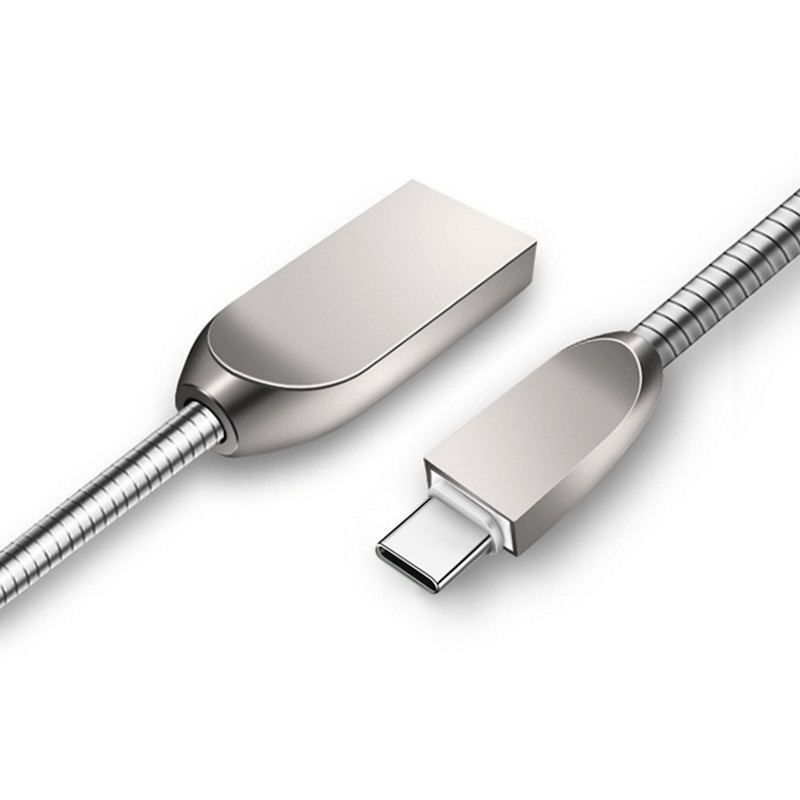Mobile Phone Data Cable Usb Fast Charge 3A For Apple 7 Android Type-c Charging Line Zinc Alloy Metal Data Cable