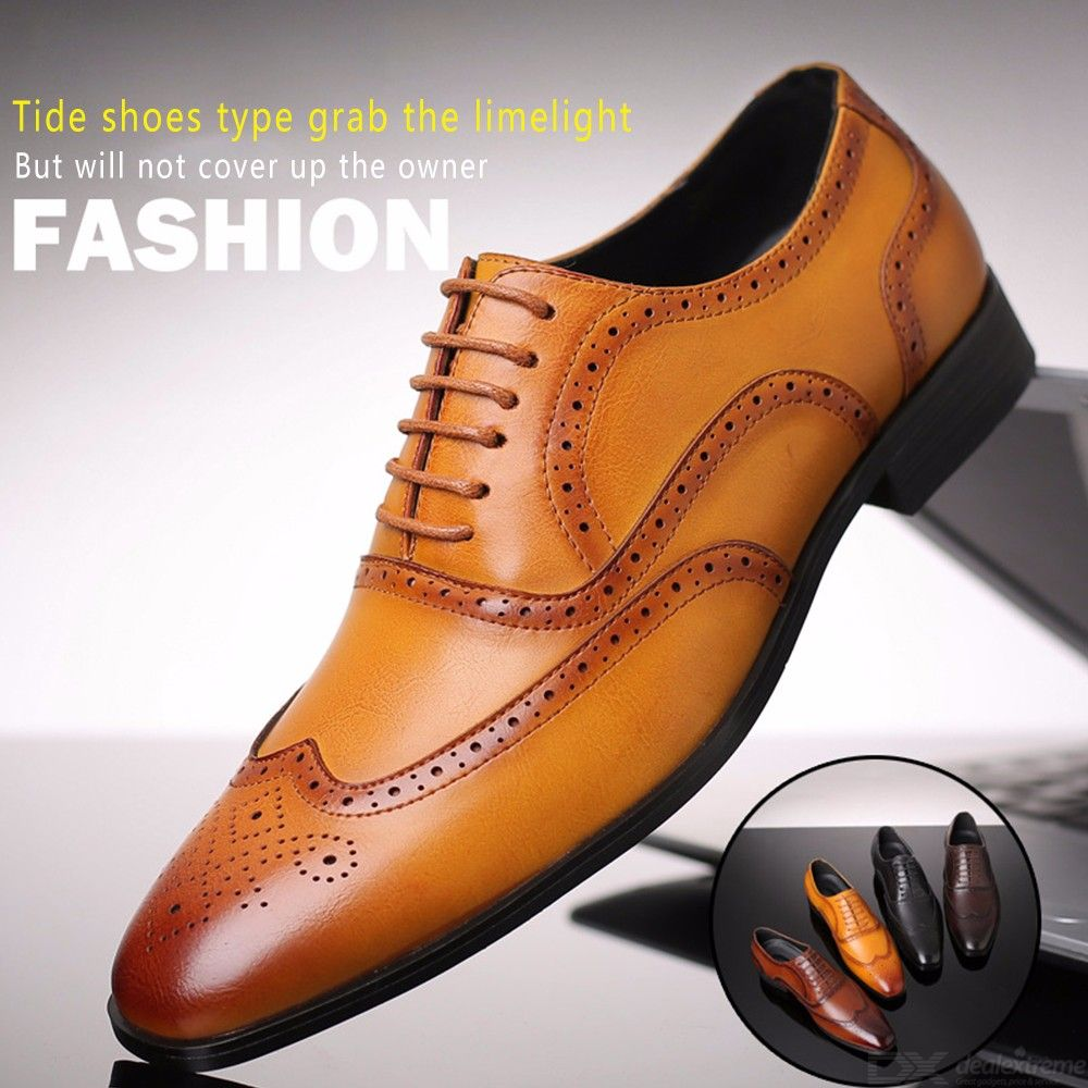 Mens Classic Leather Brogue Shoes Office Oxfords Dress Shoes