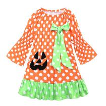 Toddler-Girl-Clothes-Autumn-Childrens-Wrinkled-Dress-Halloween-Print-Girl-Dresses-Long-Sleeve-Wave-Point-Princess-Dress
