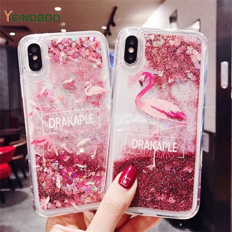 Pink Flamingo Shape Phone Case For IPhone 7 Case Liquid Quicksand Powder Protection Case For IPhone 6 6s 7 8 Plus X XR X