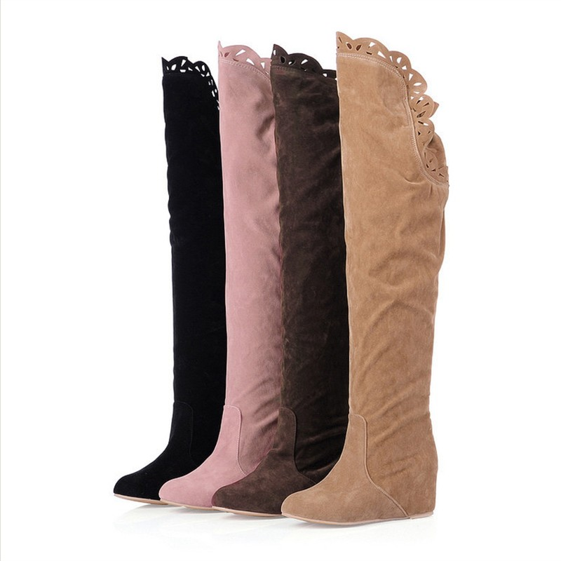 Suede Women Boots Thigh High Boots Keep Warm Elasticity Increase Within Winter Boots Women Lace Knee Boots