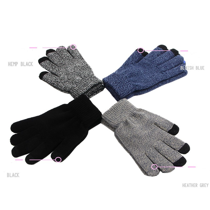 Winter Autumn Men Women Knitted Gloves Touch Screen High Quality Male Thicken Warm Wool Cashmere Solid Gloves Mitten