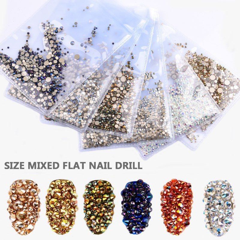 SS3-SS8 1440pcs Super Glitter Flatback Multicolor Non HotFix Rhinestones For Nail Art Decoration Shoes And Dancing Decoration Rh