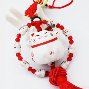 Lucky Cat Car Accessories Round Car Decoration Ceramic Lucky Car Rearview Mirror Ornaments Car Hanging Accessories